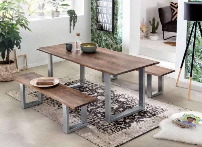 Masă de dining Freya Acacia 26 mm, 77x100x200 cm, lemn/ metal, maro/ argintiu