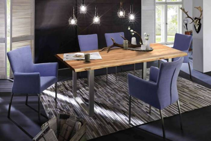 Masă de dining Freya Acacia 26 mm, 77x80x140 cm, lemn/ metal, maro/ argintiu