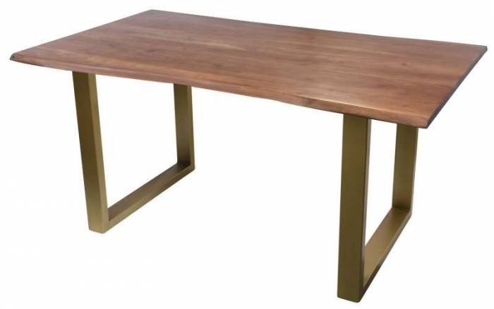 Masă de dining Freya Acacia 26 mm, 77x85x160 cm, lemn/ metal, maro/ alamă
