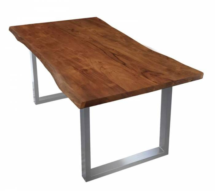 Masă de dining Freya Acacia 26 mm, 77x85x160 cm, lemn/ metal, maro/ argintiu