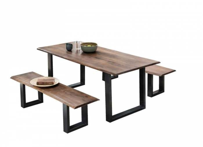 Masă de dining Freya Acacia 26 mm, 77x85x160 cm, lemn/ metal, maro/ negru