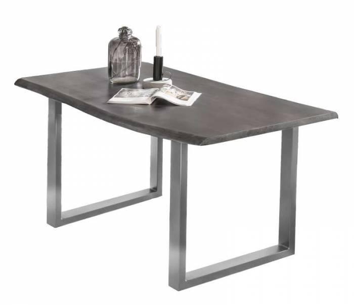 Masă de dining Freya Acacia 36 mm, 77x80x140 cm, lemn/ metal, gri/ argintiu