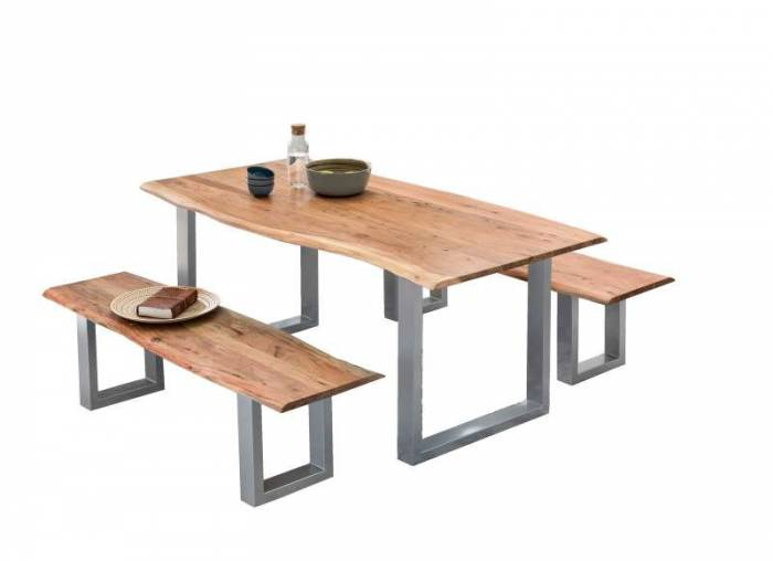 Masă de dining Freya Acacia 36 mm, 78x100x200 cm, lemn/ metal, maro/ argintiu