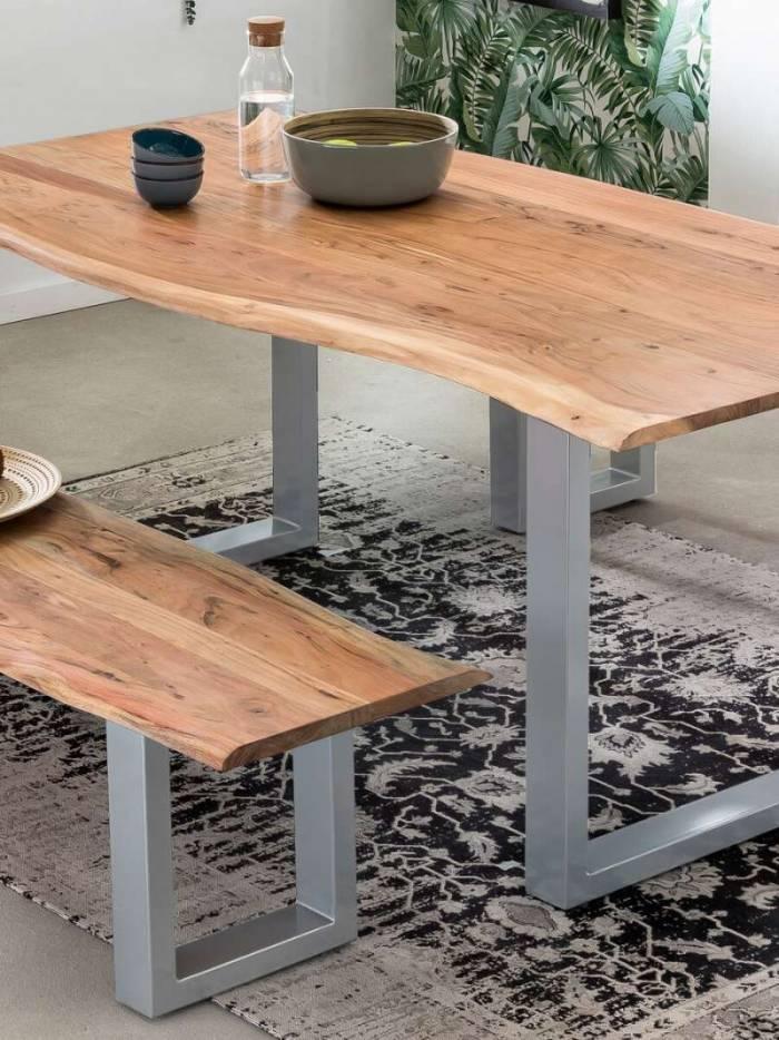 Masă de dining Freya Acacia 36 mm, 78x90x180 cm, lemn/ metal, maro/ argintiu