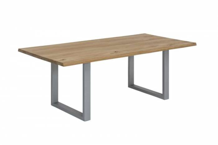 Masă de dining Freya Wild Oak Oiled 20 mm, 76x100x200 cm, lemn/ metal, maro/ argintiu