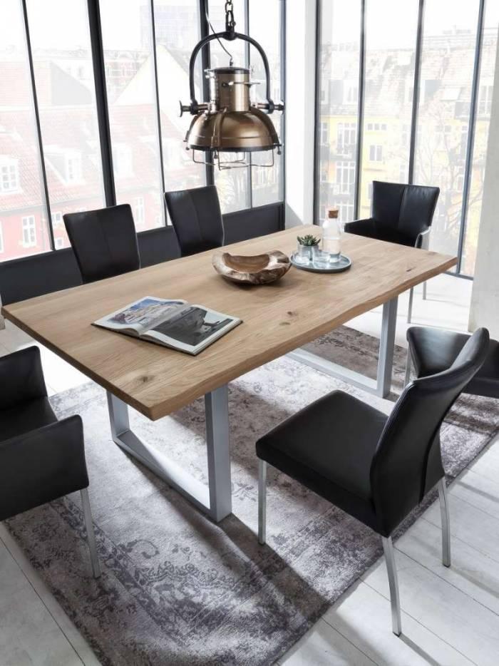 Masă de dining Freya Wild Oak Oiled 20 mm, 76x90x180 cm, lemn/ metal, maro/ argintiu