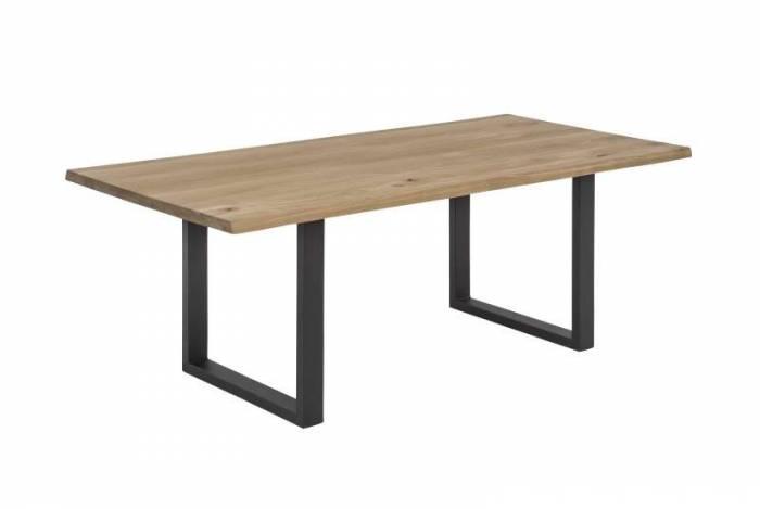 Masă de dining Freya Wild Oak Oiled 20 mm, 76x90x180 cm, lemn/ metal, maro/ negru
