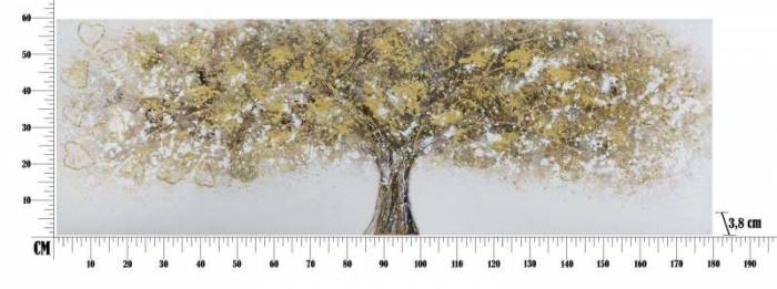 Tablou handmade Tree, 60x180x3,8 cm, lemn de pin/ canvas, multicolor