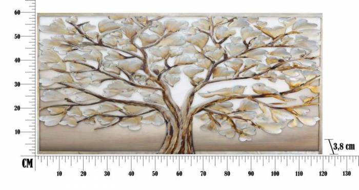 Tablou handmade Tree Alluminium, 60x120x3,8 cm, lemn de pin/ canvas/ metal, multicolor