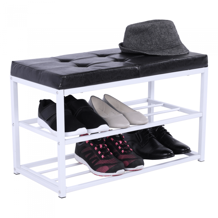 Banchetă cu rafturi pantofi, negru/alb, LYROS