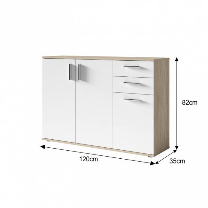 Bufet Metris 2, 120x35x82 cm, pal, alb/maro