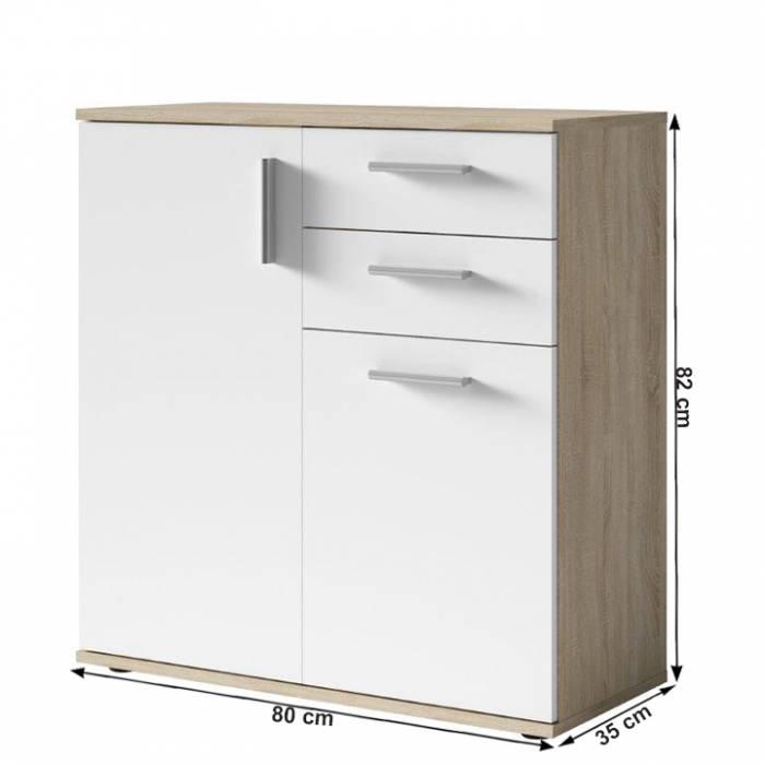 Bufet Metris 3, 80x35x82 cm, pal, alb/maro