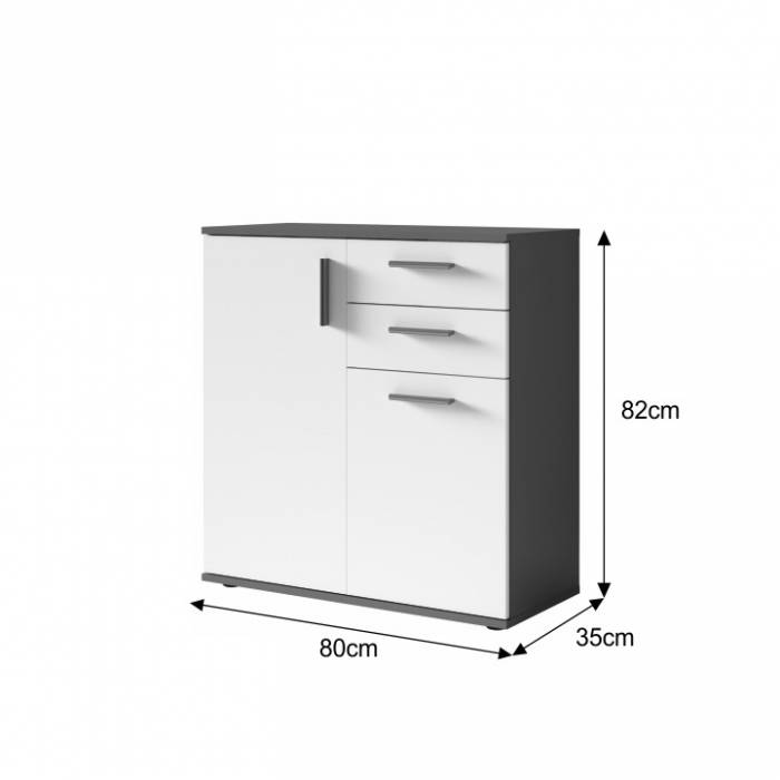 Bufet Metris, pal, alb/gri, 80x35x82 cm