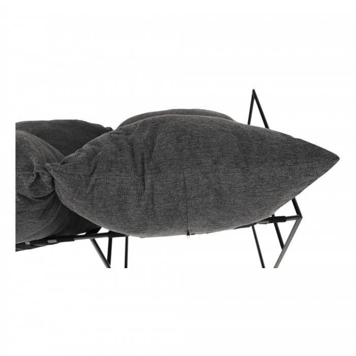 Canapea modernă 2 locuri, gri/negru, DEKER