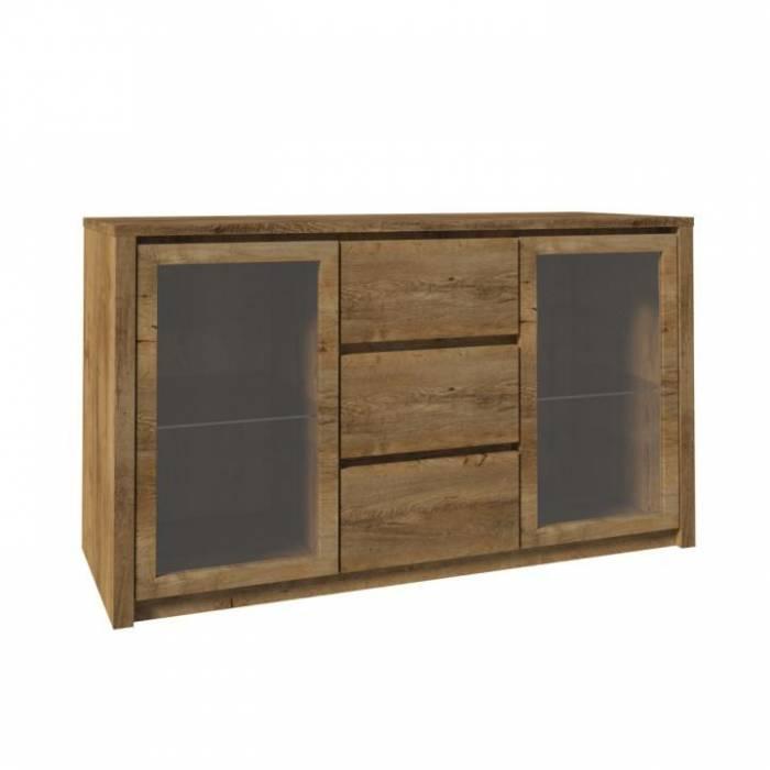 Comodă cu două uşi din sticlă şi trei sertare, stejar lefkas, MONTANA K2D
