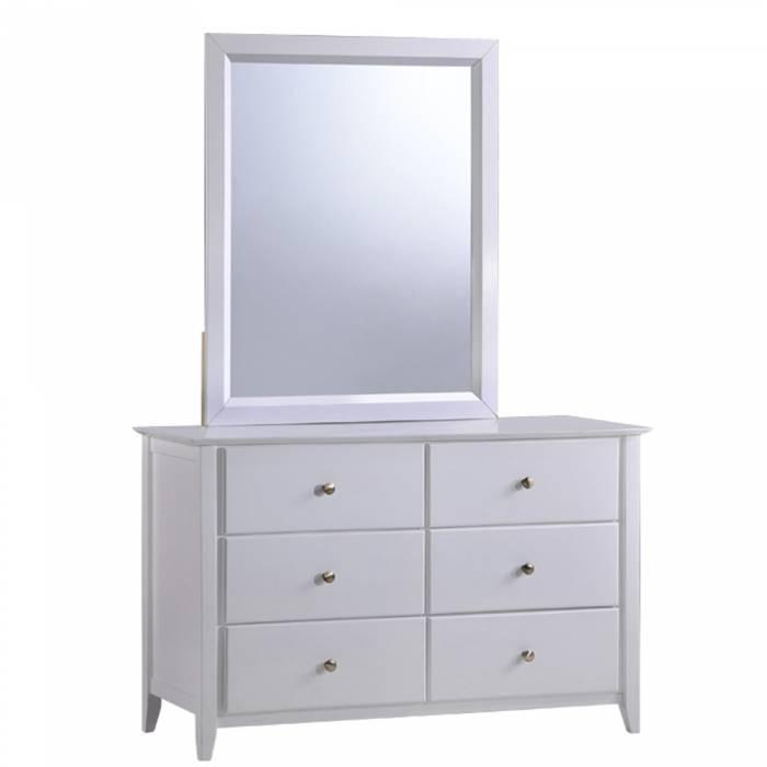 Comodă dormitor cu oglindă Java, lemn/mdf, alb