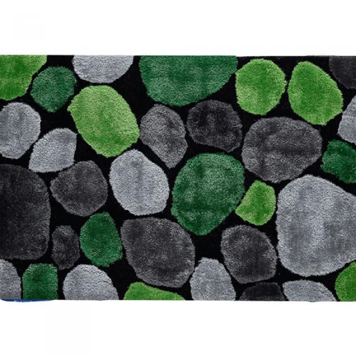 Covor 170x240 cm, verde/gri/negru, PEBBLE TYP 1
