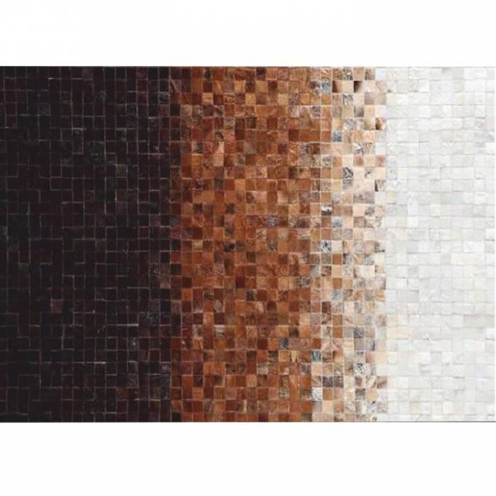 Covor de lux din piele, alb/maro/negru, patchwork, 140x200, PIELE DE VITĂ TYP 7