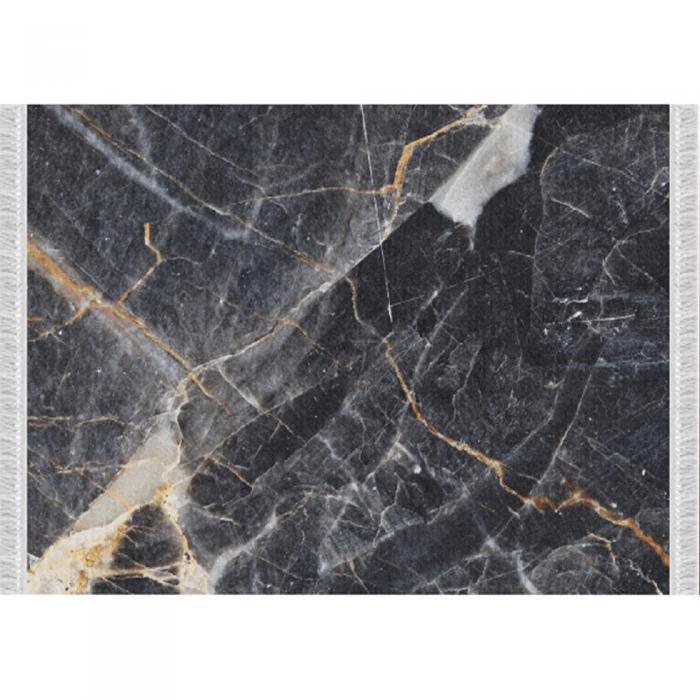Covor, model marmură neagră, 80x150, RENOX TYP 1