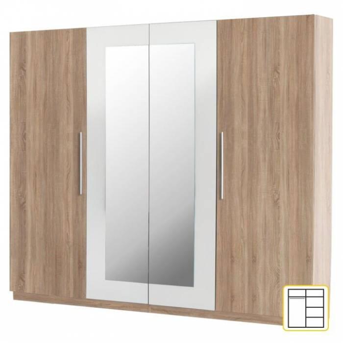 Dulap 4 uşi, oglindă, stejar sonoma/alb, MARTINA