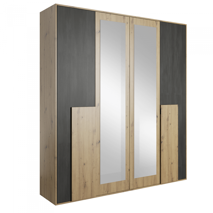 Dulap cu oglindă 4D, stejar artizanal/pin norvegian negru, BAFRA