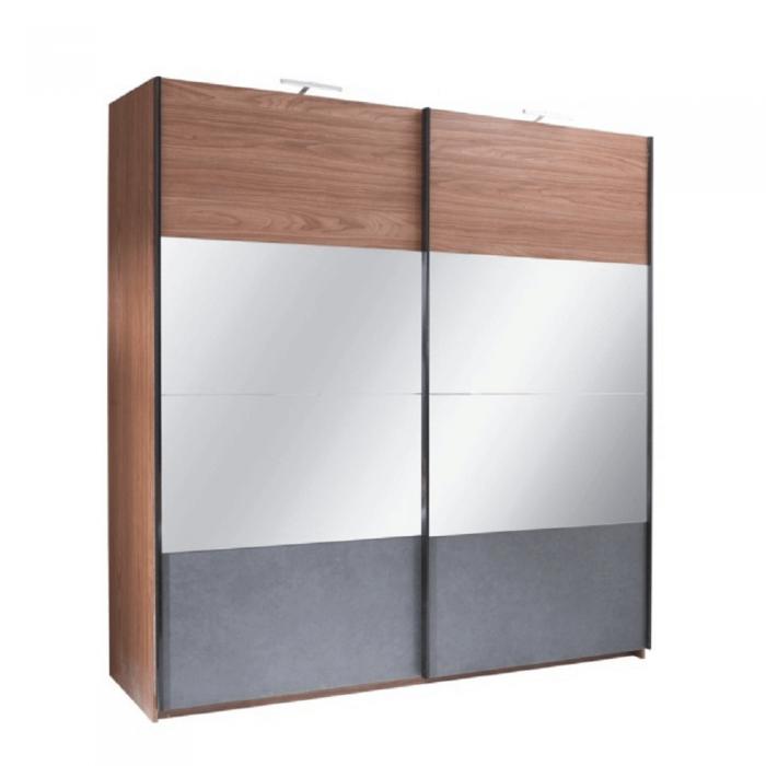 Dulap cu uşi glisante, nuc/grafit, 200x219,  REKATO