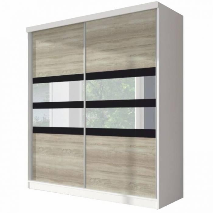 Dulap cu uşi glisante, stejar sonoma/alb/sticlă neagră, 233x218, MULTI 10