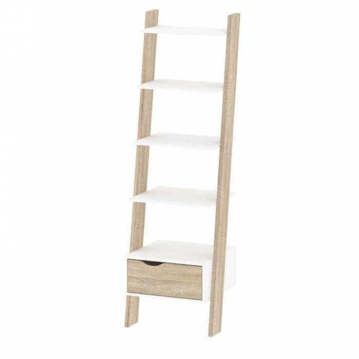 Etajeră cu sertar, stejar sonoma/alb, OSLO 75385