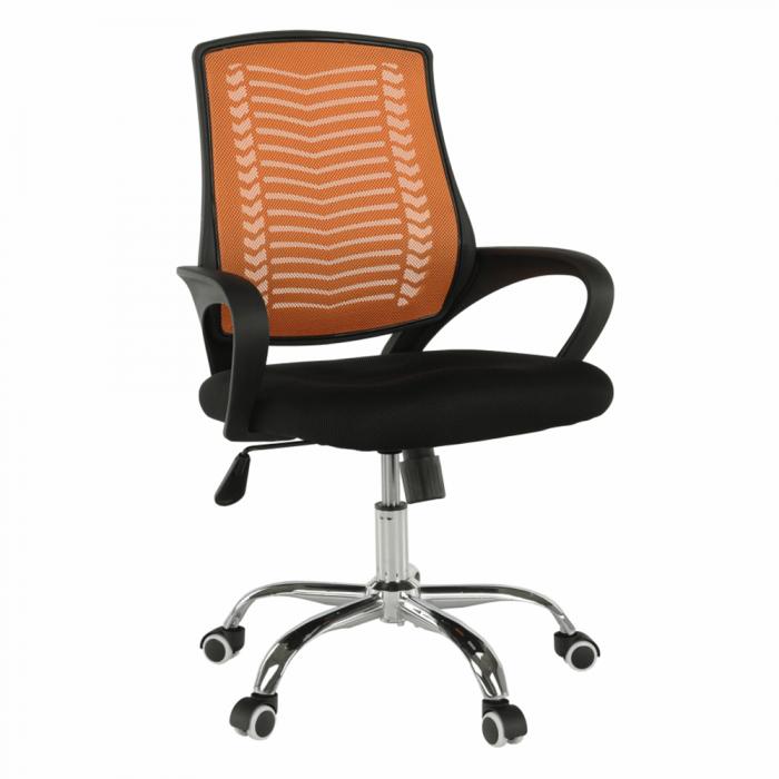 Fotoliu de birou, portocaliu/negru/crom, IMELA TYP 2