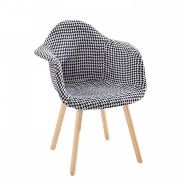 Fotoliu de design, material textil alb-negru cu model/fag, LAMIS