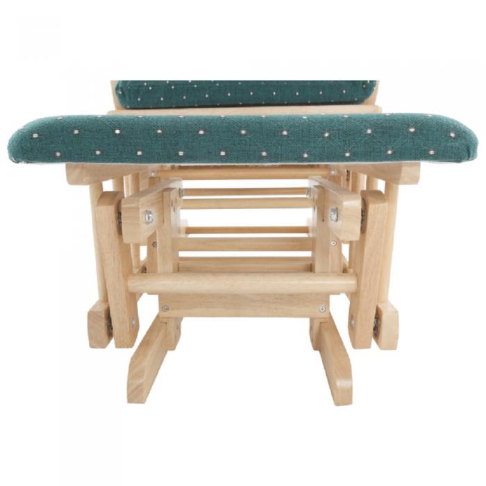 Fotoliu balansoar cu taburet, material lemn de fag verde, Relax Glider