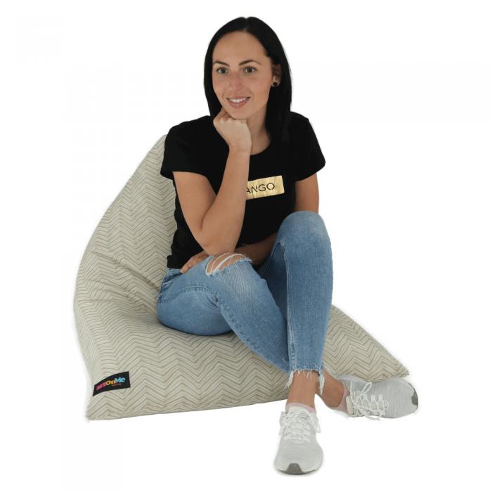 Fotoliu tip sac, material textil bej, BRESTO