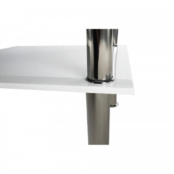 Măsuţă cafea, alb extra luciu ridicat HG/ sticlă, SVEN