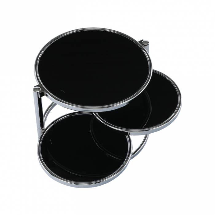 Măsuţă cafea rotabilă, sticlă neagră/crom, MOIRA