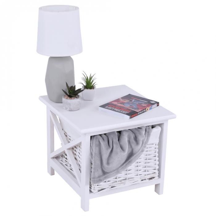 Noptieră, lemn/răchită/material textil, alb, RAFAELLO