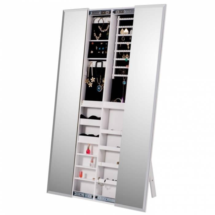 Oglindă cu spaţiu pentru stocare pt. bijuterii, alb, ONEON
