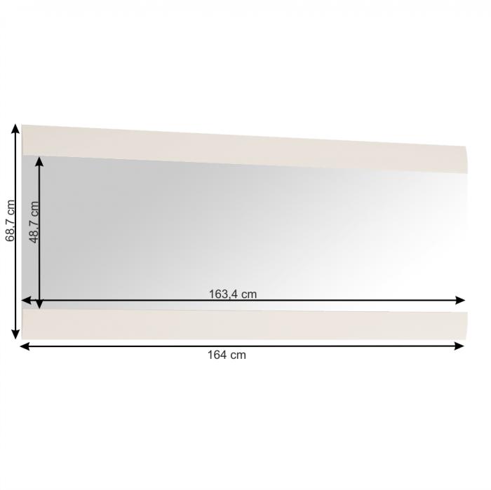Oglindă mare, alb extra luciu ridicat HG, LYNATET TYP 121