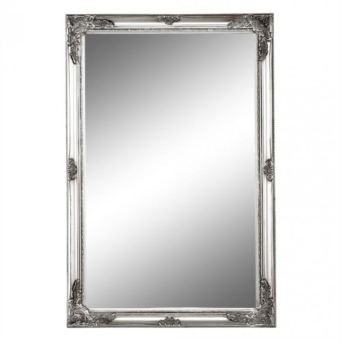 Oglindă, ramă din lemn argintiu, MALKIA TYP 6