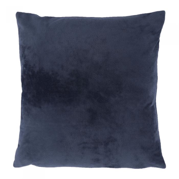 Pernă, material textil de catifea albastru închis, 45x45, ALITA TIPUL 6