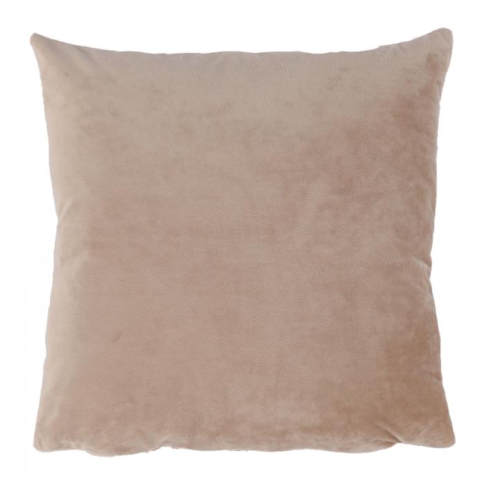 Pernă, material textil de catifea bej, 60x60, OLAJA TIPUL 9