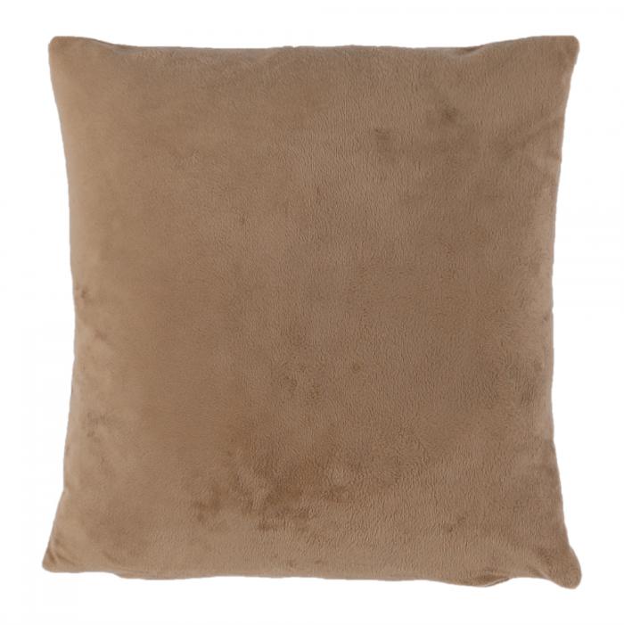 Pernă, material textil de catifea maro deschis, 60x60, OLAJA TIPUL 4