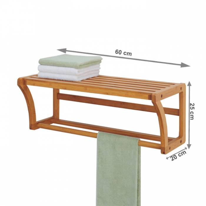 Raft cu bară de haine, bambus natural, LELA TIPUL 1