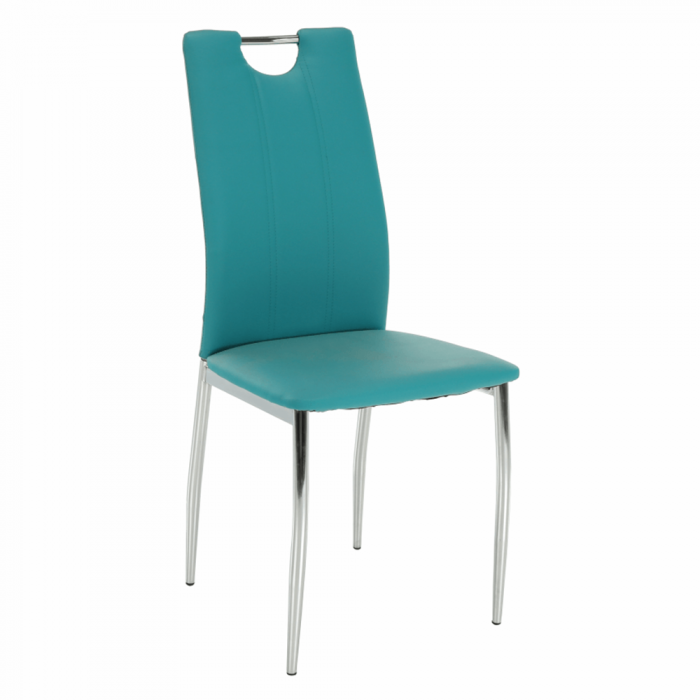Scaun bucătărie, piele ecologică albastru petrol/crom, OLIVA NEW
