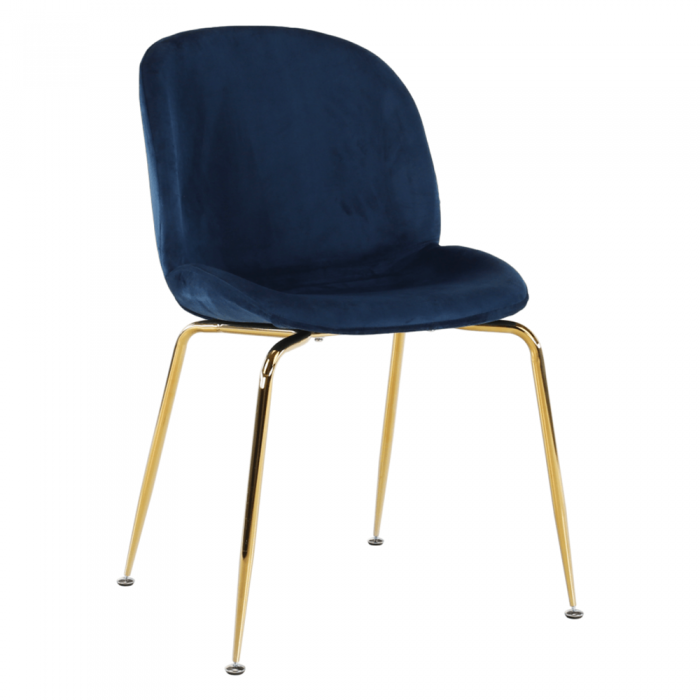 Scaun, material textil Velvet albastru/gold crom-auriu, PORTIA