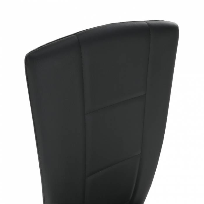 Scaun, piele eco neagră/crom, FINA