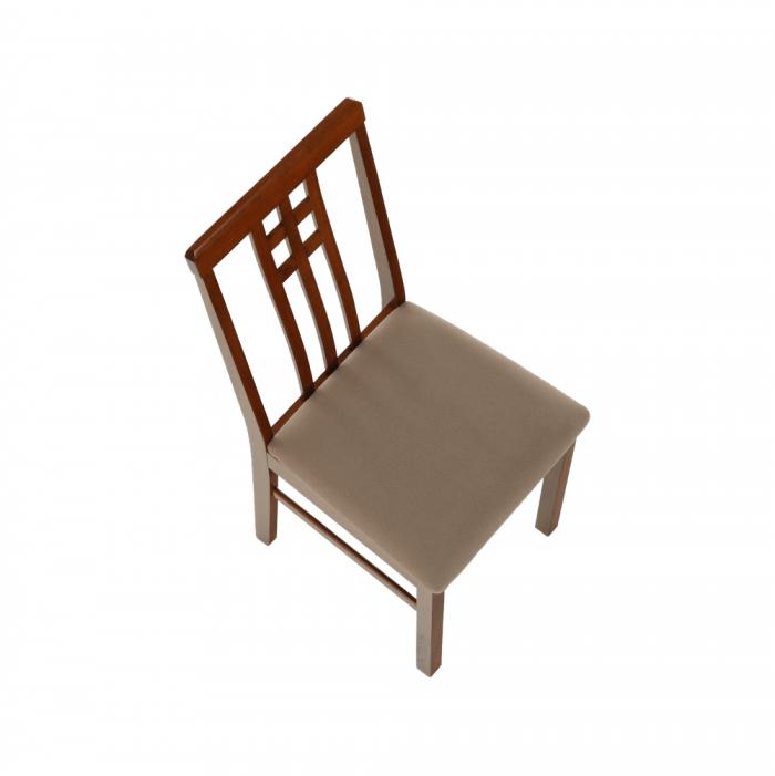 Scaun, stejar închis/textil gri cu bej, SILAS