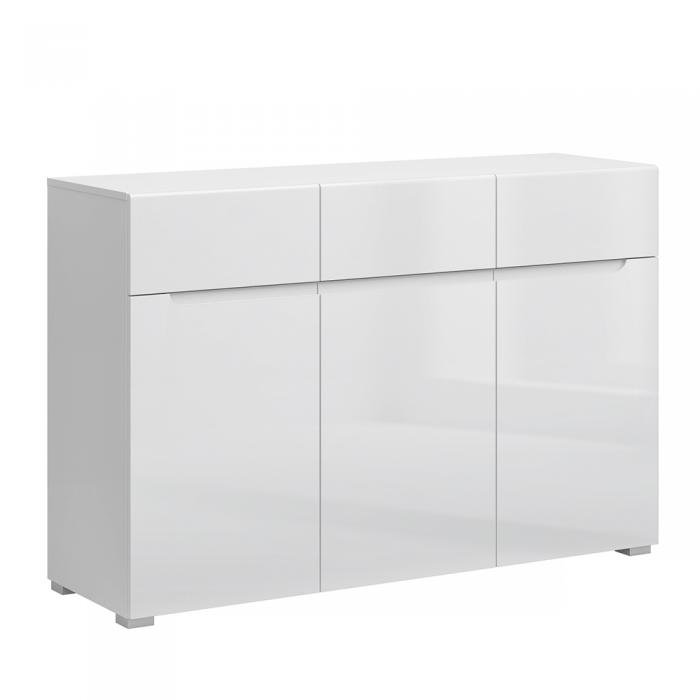 Bufet 3D3S, alb / alb cu luciu extra ridicat HG, JOLK