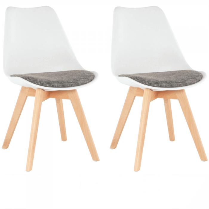 Set 2 buc, scaun, alb/maro, DAMARA