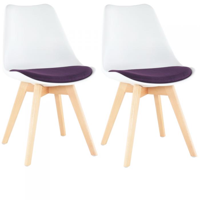 Set 2 scaune, scaun, alb/violet, DAMARA