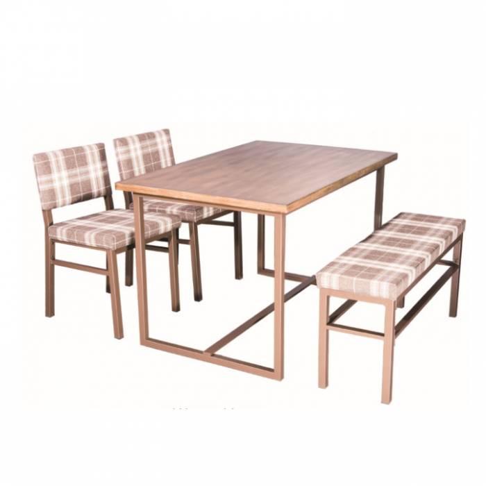 Set dining - masă, bancă, 2 scaune, în carouri/maro/nuc, LAKIN